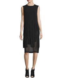 DKNY Sleeveless Mesh Trim Carwash Midi Dress Black
