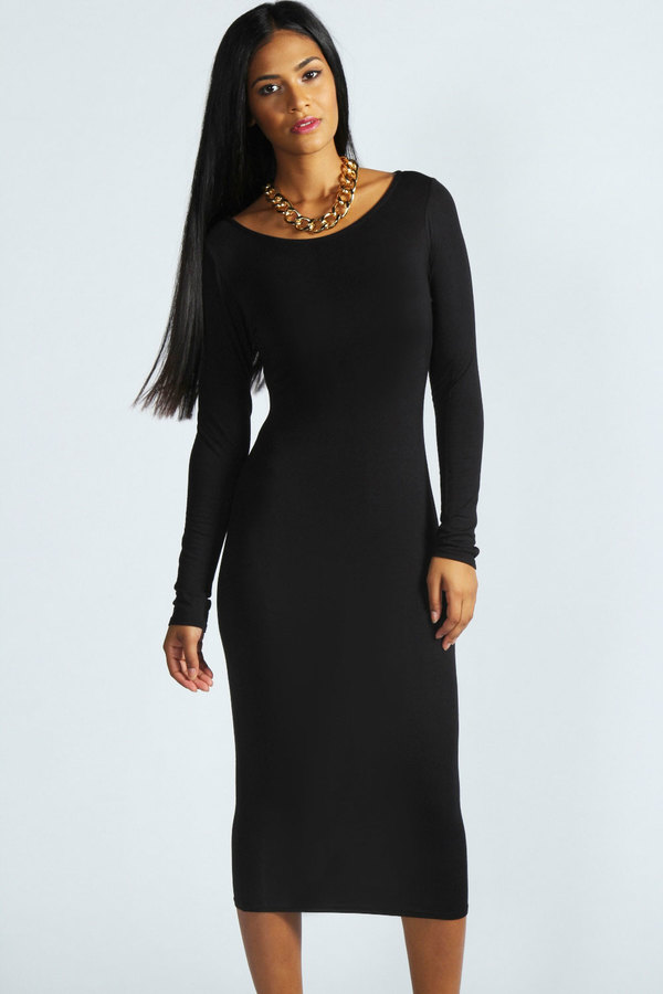 e8d1e9b1b51 Susan Long Sleeve Midi Dress. Black Midi Dress by Boohoo