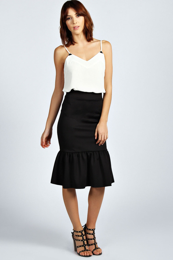 boohoo m peplum hem midi skirt where to buy how to wear
