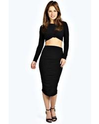 03a30e272 Women's Black Midi Skirts by Boohoo | Women's Fashion | Lookastic.com