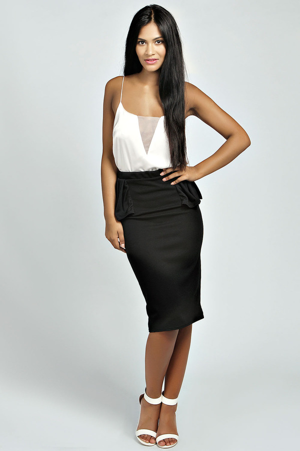 boohoo waffle side peplum midi skirt where to buy