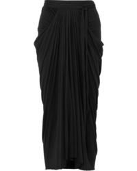 Rick Owens Draped Stretch Jersey Midi Skirt