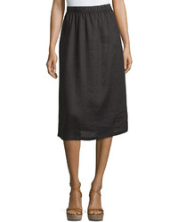 Neiman Marcus Linen A Line Midi Skirt Black