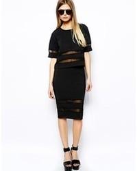 Vero Moda Mesh Insert Midi Skirt Black