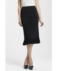 Ming Wang Ruffle Hem Knit Midi Skirt Black Large