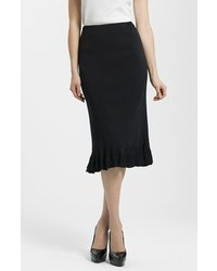 Ming Wang Ruffle Hem Knit Midi Skirt Black X Large