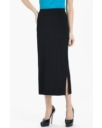 Ming Wang Side Slit Knit Midi Skirt Black Medium