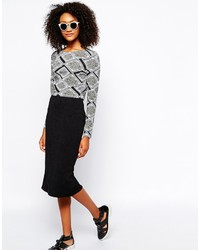 Monki Quilted Pencil Skirt