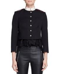 Alexander McQueen Military Button Trompe Loeil Jacket Black