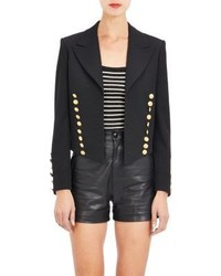 Saint Laurent Cropped Open Front Military Jacket