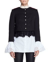 Alexander McQueen Cropped Wool Military Jacket Black