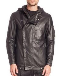 Diesel Black Gold Londolyn Military Leather Hooded Jacket