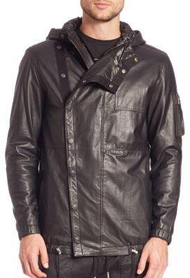 ... Diesel Black Gold Londolyn Military Leather Hooded Jacket