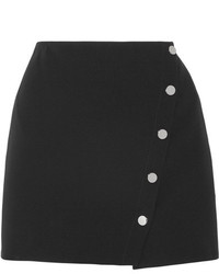 Versace Asymmetric Cady Wrap Mini Skirt Black