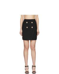 Balmain Black 4 Button Wrap Skirt