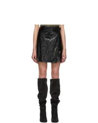 Helmut Lang Black Mylar Wrap Miniskirt