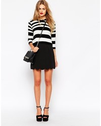 Asos Collection A Line Mini Skirt With Scallop Hem