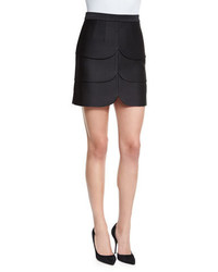 Scalloped satin mini skirt black medium 660824