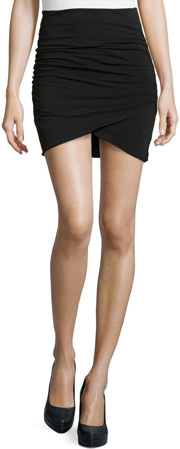 James Perse Wrap Style Draped Mini Skirt Black   Where to buy ...