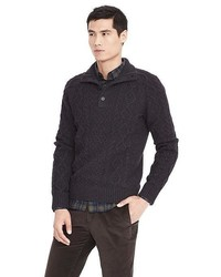 Banana Republic Wool Cashmere Cable Button Mock