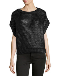 Michl kors short sleeve shaker knit popover sweater black medium 157805