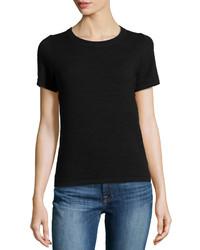 Neiman Marcus Ottoman Knit Short Sleeve Top Black