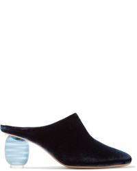 The Row Adela Velvet Mules Midnight Blue