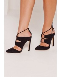 Missguided Black Lace Up Mule Pumps