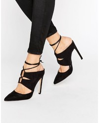 Missguided Lace Up Pointed Heeled Mules