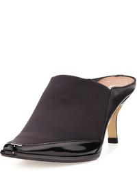 Donald J Pliner Lucki Square Toe Leather Trim Mule Black