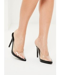 Missguided Black Perspex Closed Toe Heeled Mules