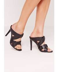 Missguided Twist Strap Slip On Heeled Mule Black
