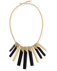 Alexis Bittar Tapered Stick Bib Necklace Black