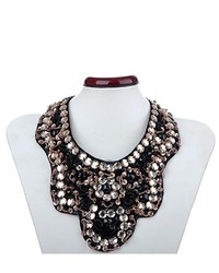 Alilang Statet Black Peach Tone Tribal Inspired Beaded Sequin Fashion Bib Necklace
