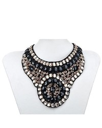 Alilang Statet Black Tribal Inspired Peach Tone Beaded Sequin Fashion Bib Necklace