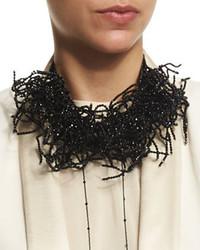 Brunello Cucinelli Beaded Seaweed Choker Necklace Black