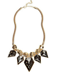 River Island Black Flecked Stone Statet Necklace