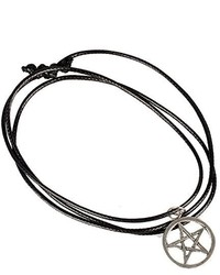 Doinshop New Nice Cute Lovely Star Of David Pendant Necklace Choker Chains Charm Black Leather Cord