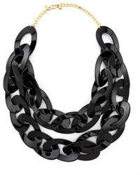 Kenneth Jay Lane Double Strand Enamel Link Necklace Black