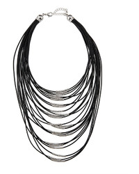 Fragments for Neiman Marcus Fragts Multi Strand Cord Statet Necklace Black