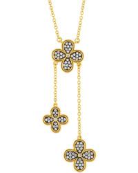 Freida Rothman Pav Crystal Clover Lariat Necklace
