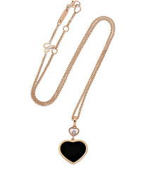 Chopard Happy Hearts 18 Karat Gold Diamond And Onyx Necklace