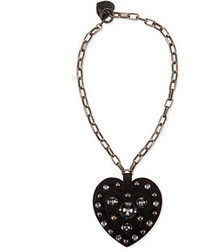 Lanvin Heart Pendant Necklace Black