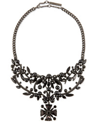 Givenchy Jet Crystal Bib Necklace Black