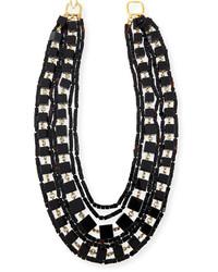 Kenneth Jay Lane Multi Strand Beaded Cube Necklace Black