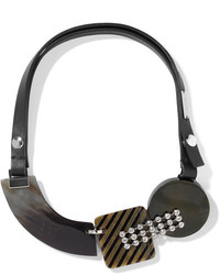 Marni Leather Horn Silver Tone And Crystal Necklace Black