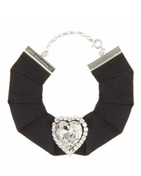 Christopher Kane Love Heart Swarovski Crystal Embellished Grosgrain Choker