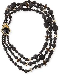Alexis Bittar Miss Havisham Three Strand Black Onyx Necklace