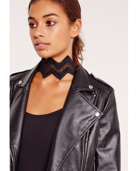 Missguided Pointed Wide Mesh Choker Necklace Black