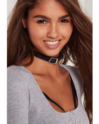Missguided Rounded Buckle Choker Necklace Black